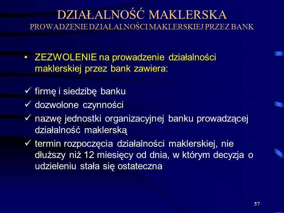 DZIAŁALNOŚĆ MAKLERSKA PROWADZENIE DZIAŁALNOŚCI MAKLERSKIEJ PRZEZ BANK