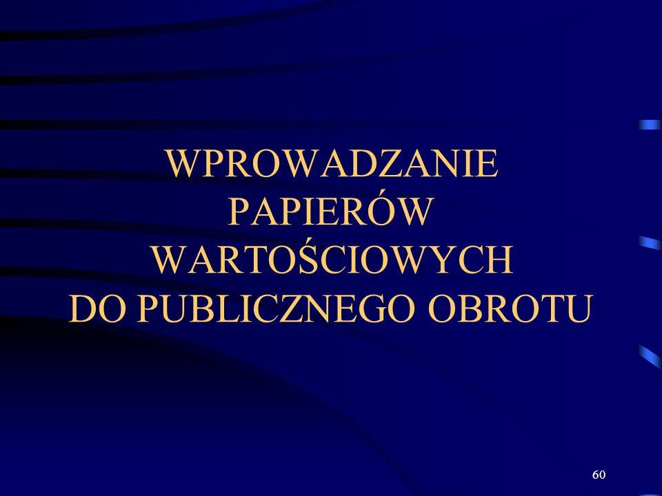 WPROWADZANIE PAPIERÓW WARTOŚCIOWYCH DO PUBLICZNEGO OBROTU