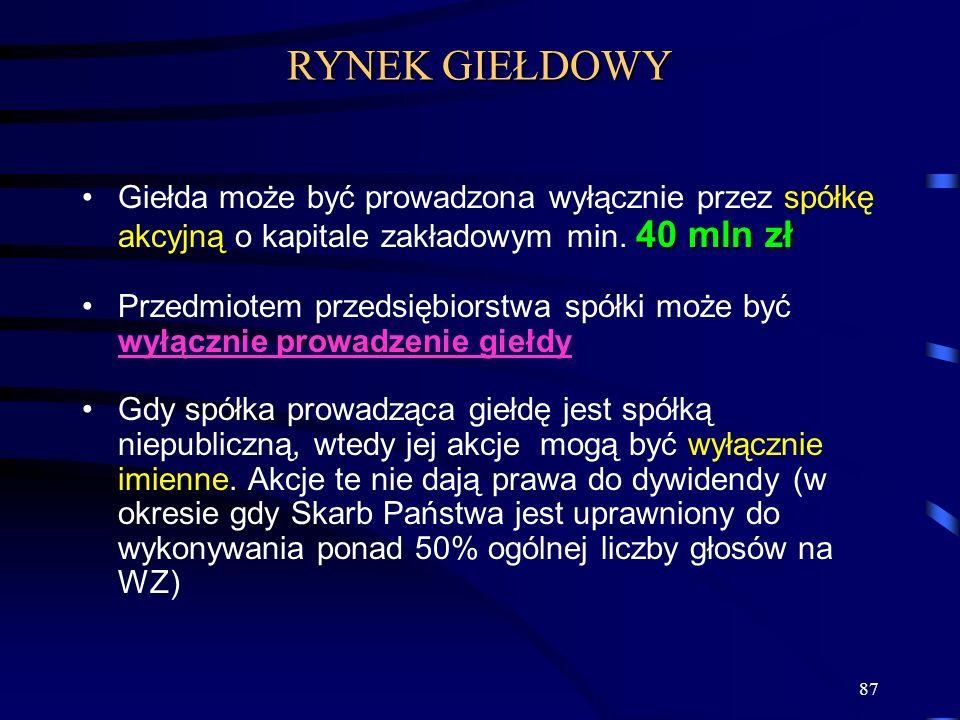 RYNEK GIEŁDOWY Giełda może być prowadzona wyłącznie przez spółkę akcyjną o kapitale zakładowym min. 40 mln zł.