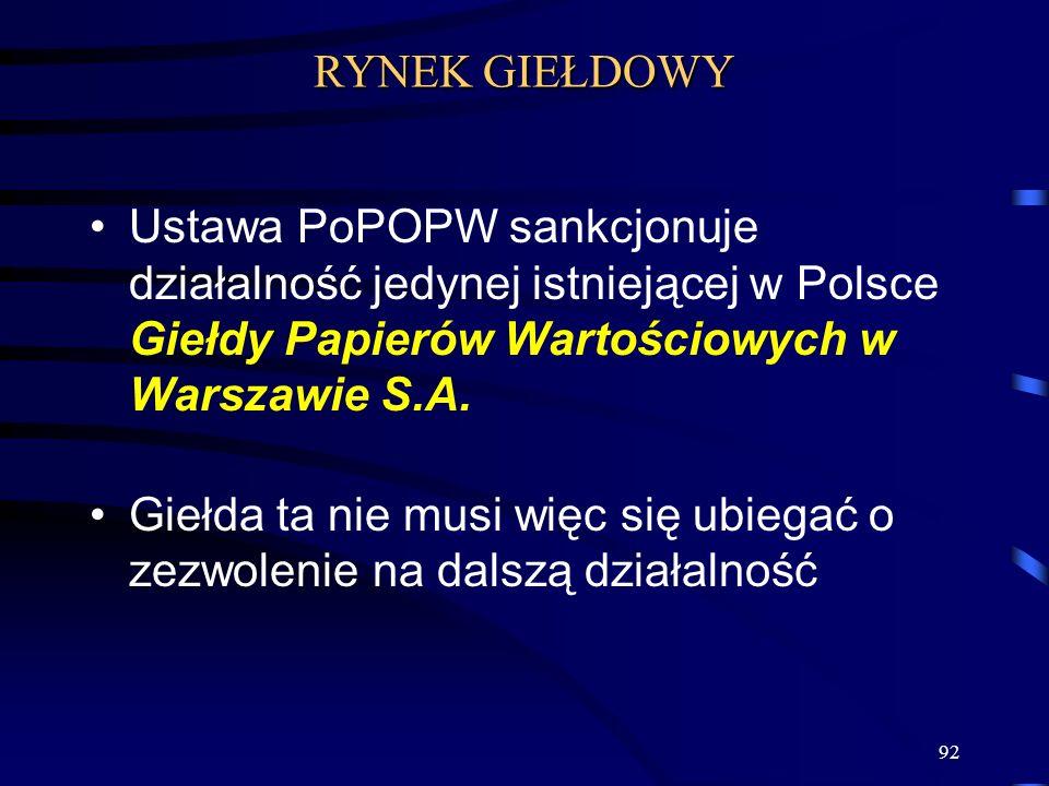 RYNEK GIEŁDOWY Ustawa PoPOPW sankcjonuje działalność jedynej istniejącej w Polsce Giełdy Papierów Wartościowych w Warszawie S.A.