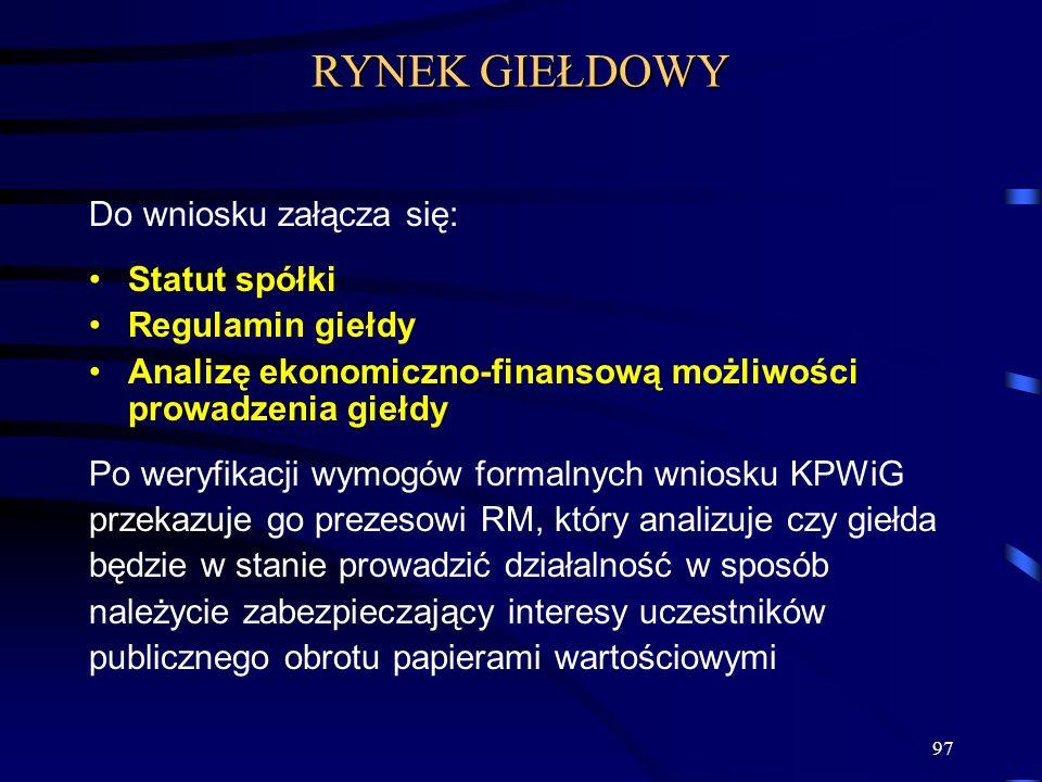 RYNEK GIEŁDOWY Do wniosku załącza się: Statut spółki Regulamin giełdy
