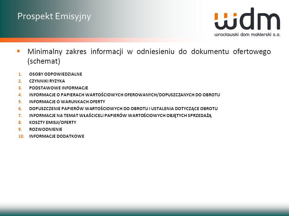 Prospekt Emisyjny Minimalny zakres informacji w odniesieniu do dokumentu ofertowego (schemat) OSOBY ODPOWIEDZIALNE.