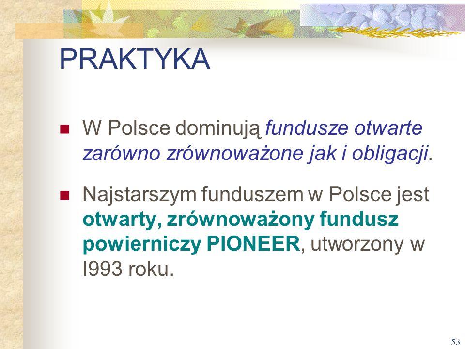 PRAKTYKA W Polsce dominują fundusze otwarte zarówno zrównoważone jak i obligacji.