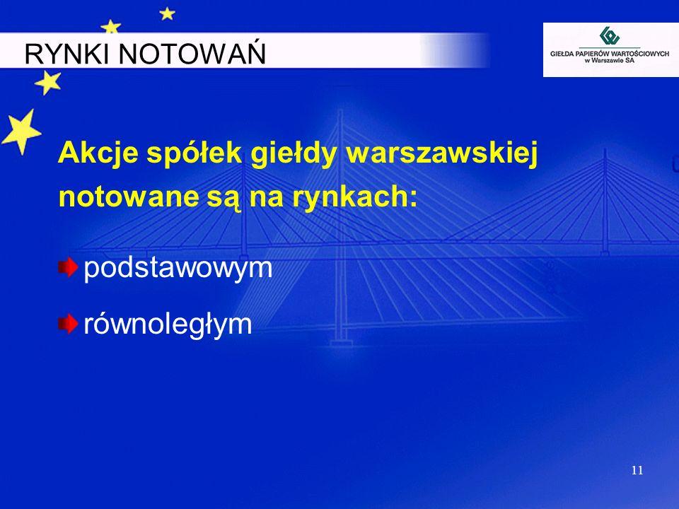 Akcje spółek giełdy warszawskiej notowane są na rynkach: podstawowym