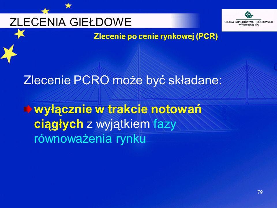 Zlecenie po cenie rynkowej (PCR)