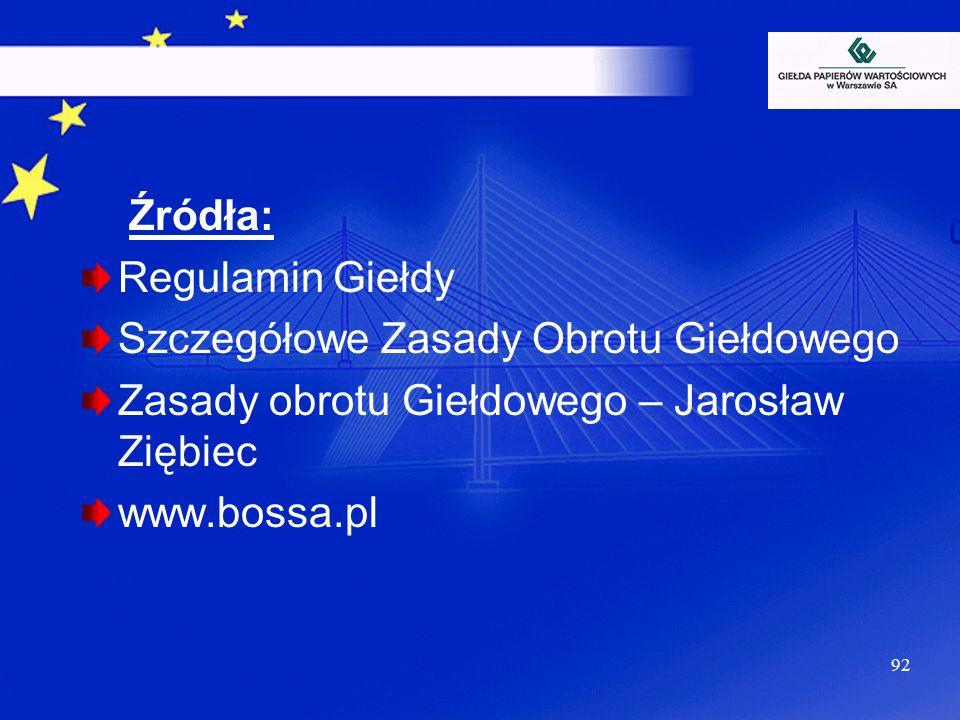 Źródła: Regulamin Giełdy. Szczegółowe Zasady Obrotu Giełdowego. Zasady obrotu Giełdowego – Jarosław Ziębiec.