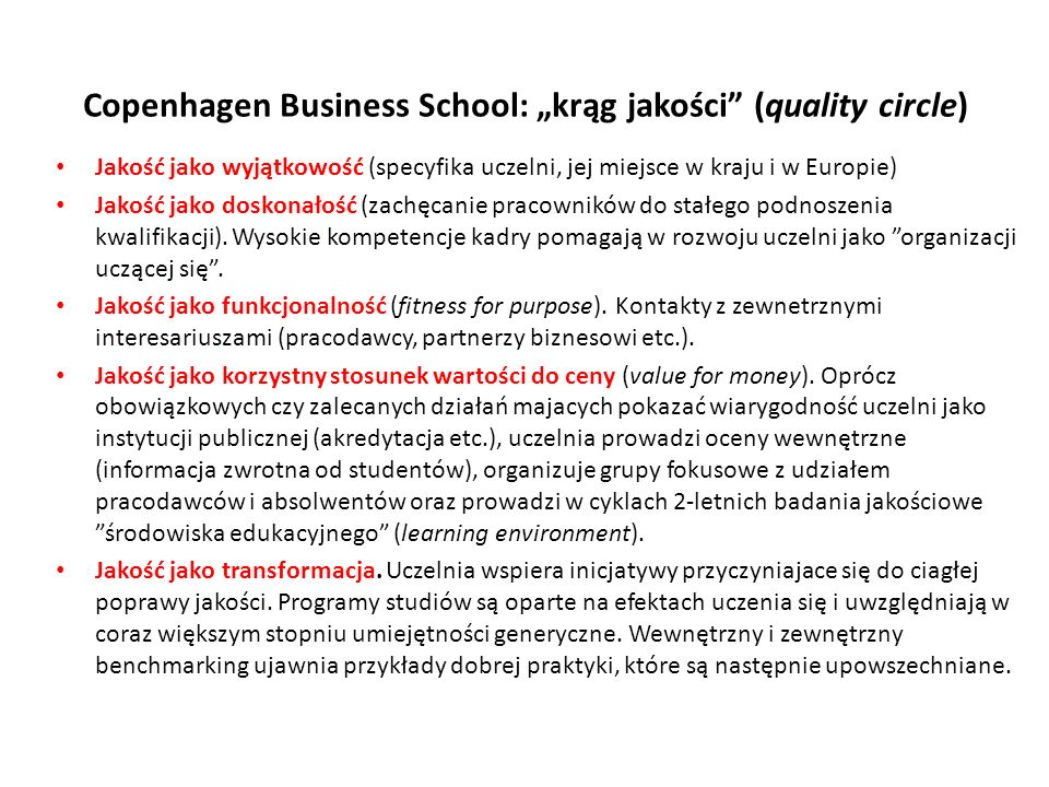 "Copenhagen Business School: ""krąg jakości (quality circle)"