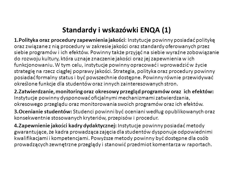 Standardy i wskazówki ENQA (1)