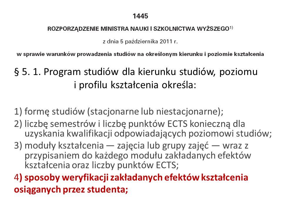 § 5. 1. Program studiów dla kierunku studiów, poziomu