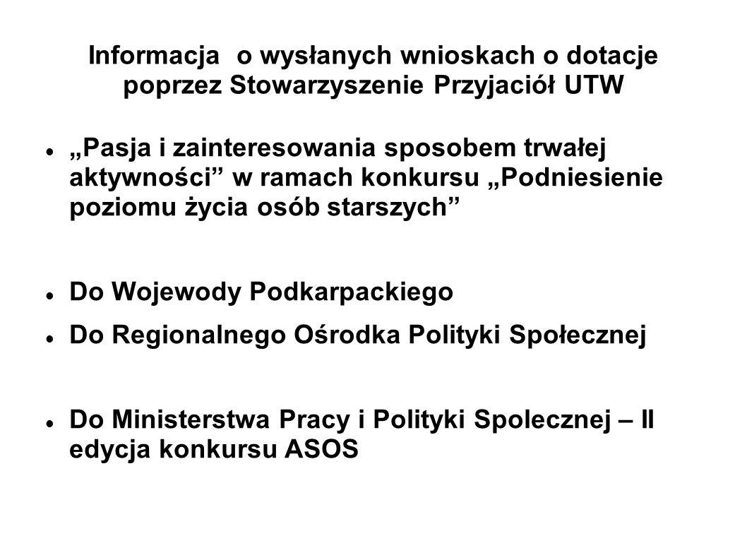 Informacja o wysłanych wnioskach o dotacje poprzez Stowarzyszenie Przyjaciół UTW