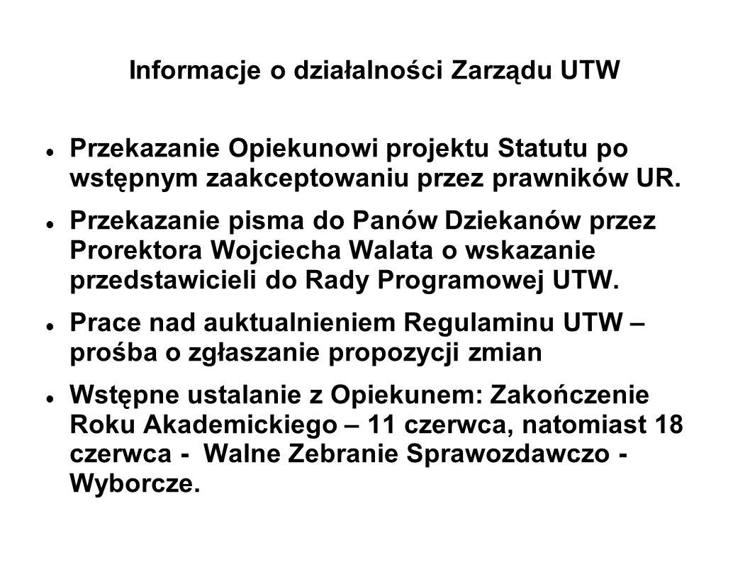 Informacje o działalności Zarządu UTW