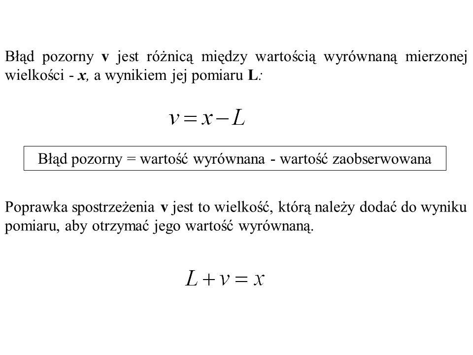 Błąd pozorny = wartość wyrównana - wartość zaobserwowana