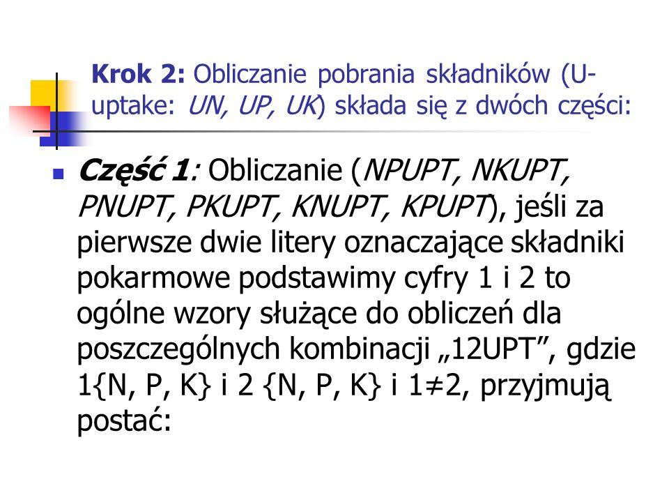 Krok 2: Obliczanie pobrania składników (U- uptake: UN, UP, UK) składa się z dwóch części: