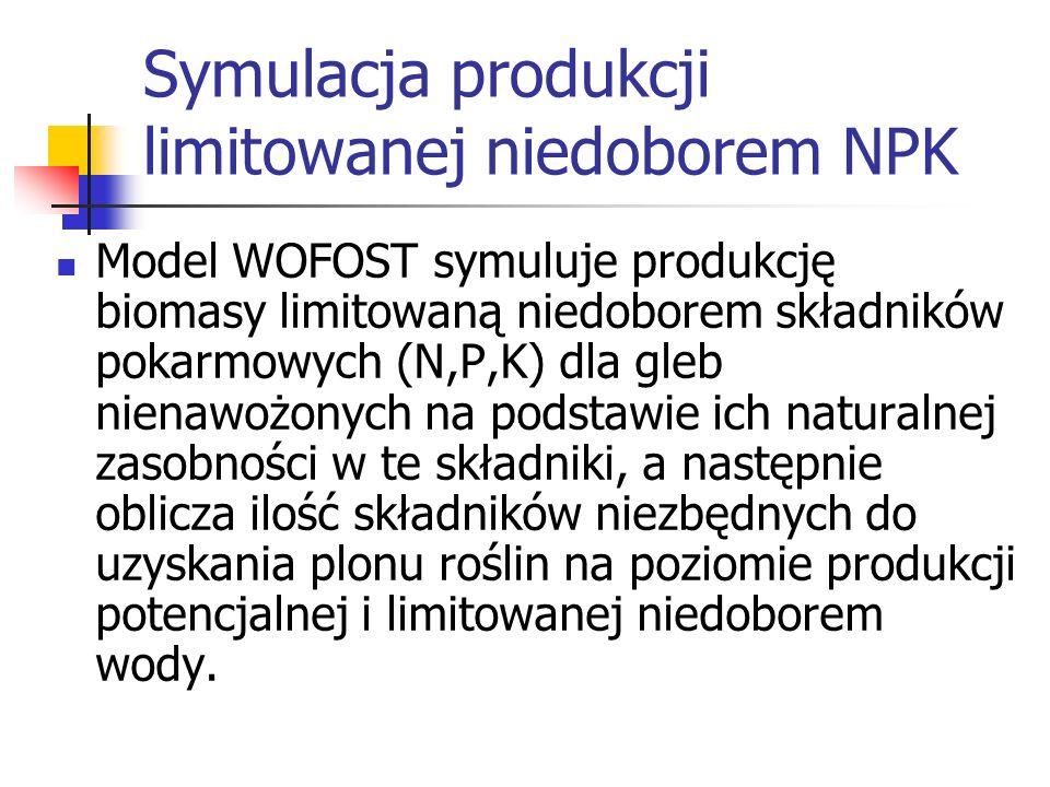 Symulacja produkcji limitowanej niedoborem NPK