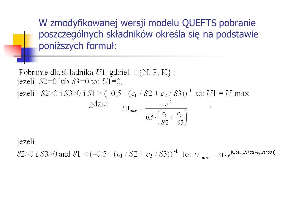 W zmodyfikowanej wersji modelu QUEFTS pobranie poszczególnych składników określa się na podstawie poniższych formuł: