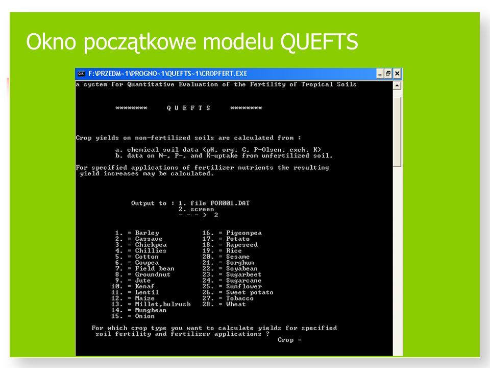 Okno początkowe modelu QUEFTS