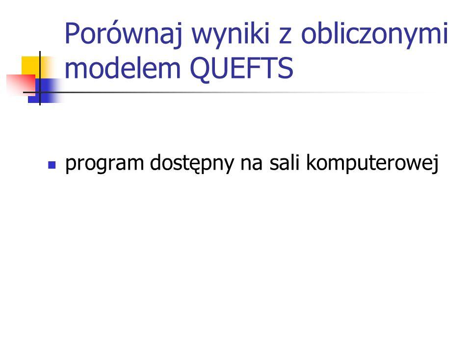 Porównaj wyniki z obliczonymi modelem QUEFTS