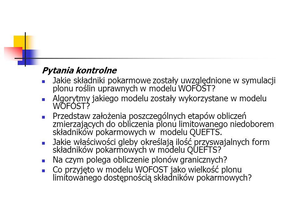 Pytania kontrolne Jakie składniki pokarmowe zostały uwzględnione w symulacji plonu roślin uprawnych w modelu WOFOST