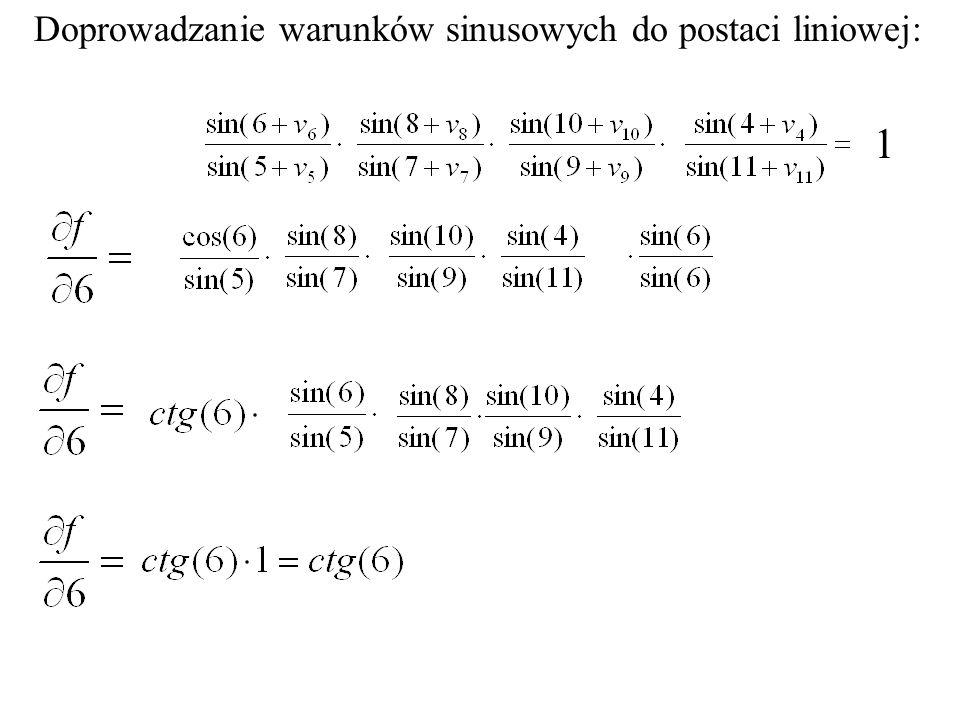 Doprowadzanie warunków sinusowych do postaci liniowej: