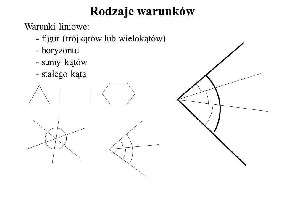 Rodzaje warunków Warunki liniowe: figur (trójkątów lub wielokątów)