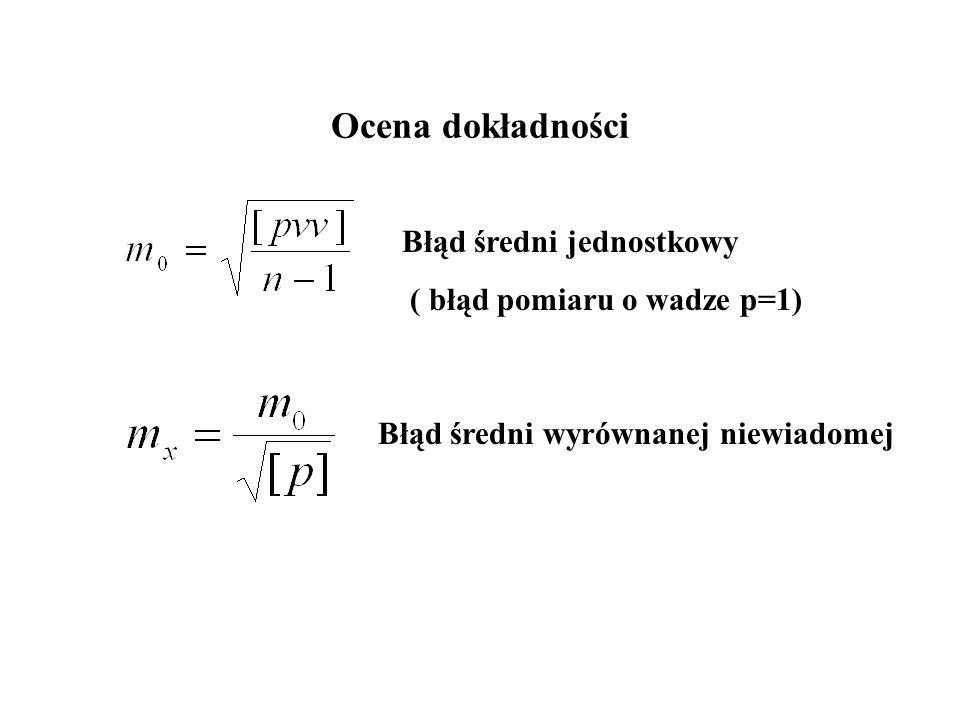 Ocena dokładności Błąd średni jednostkowy ( błąd pomiaru o wadze p=1)