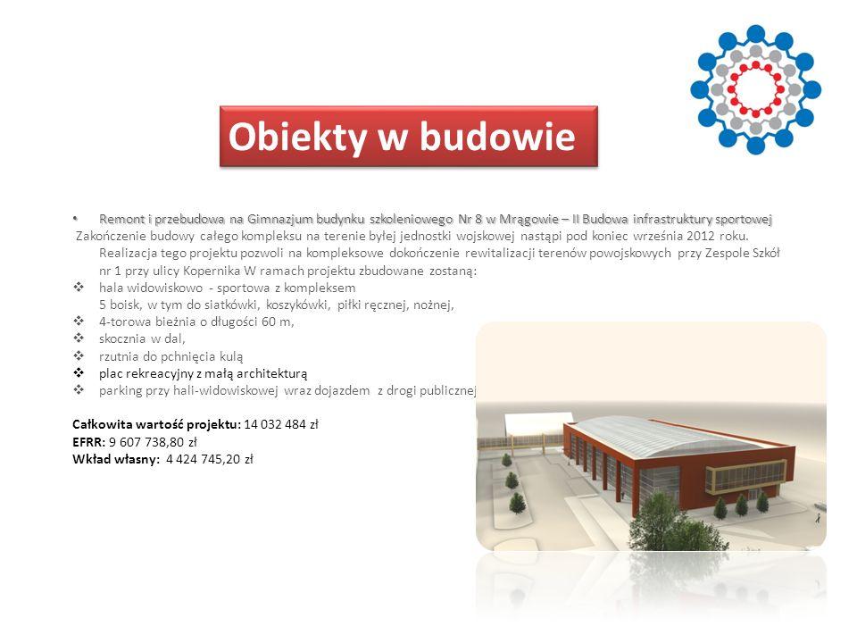 Obiekty w budowie Remont i przebudowa na Gimnazjum budynku szkoleniowego Nr 8 w Mrągowie – II Budowa infrastruktury sportowej.