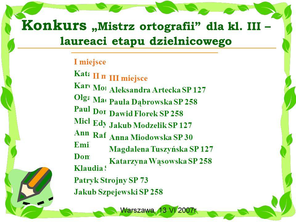 """Konkurs """"Mistrz ortografii dla kl. III – laureaci etapu dzielnicowego"""