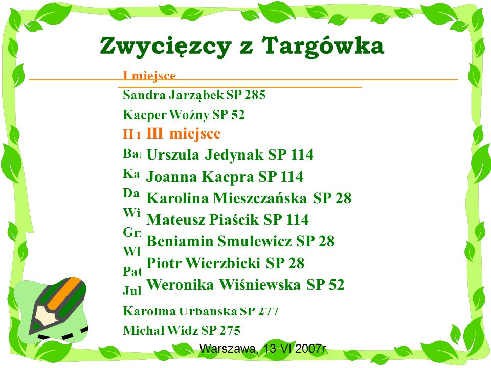 Zwycięzcy z Targówka III miejsce Urszula Jedynak SP 114