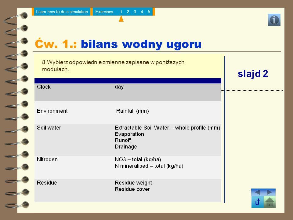 Ćw. 1.: bilans wodny ugoru slajd 2