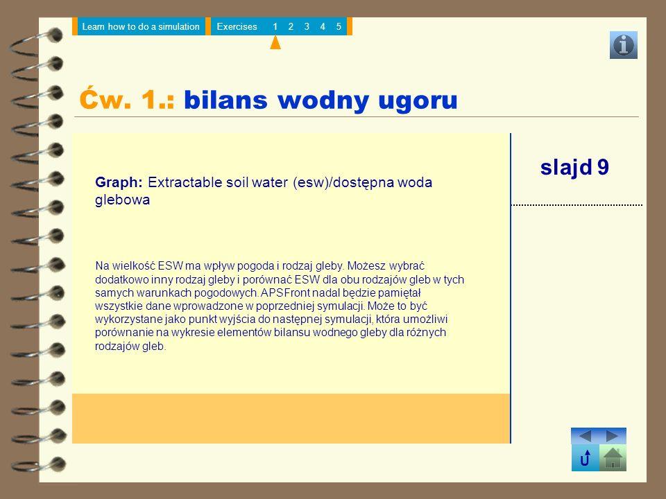 Ćw. 1.: bilans wodny ugoru slajd 9
