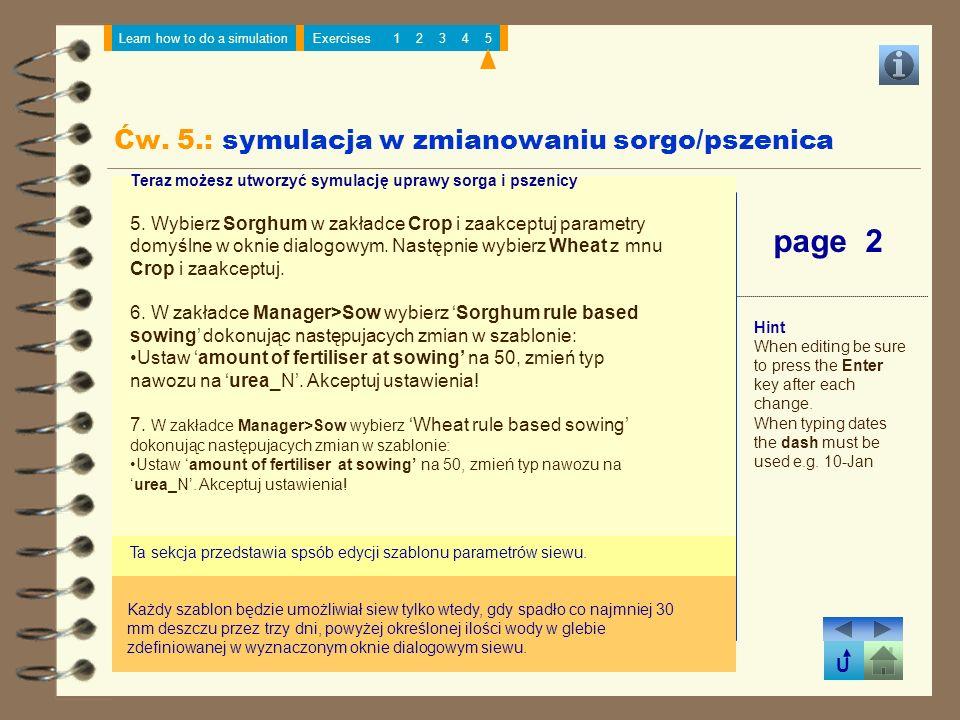Ćw. 5.: symulacja w zmianowaniu sorgo/pszenica