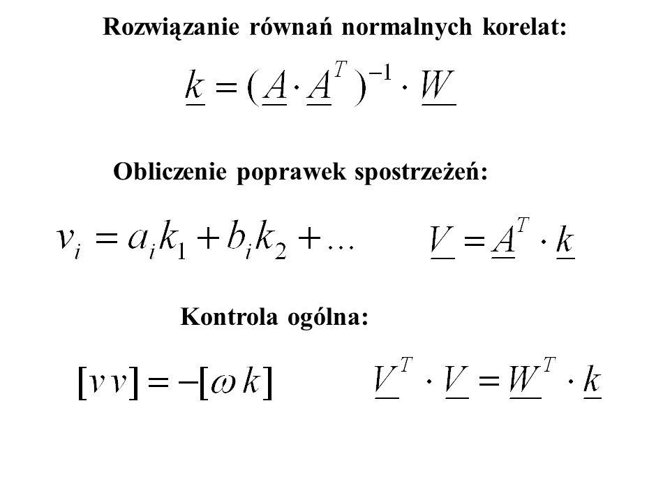 Rozwiązanie równań normalnych korelat: