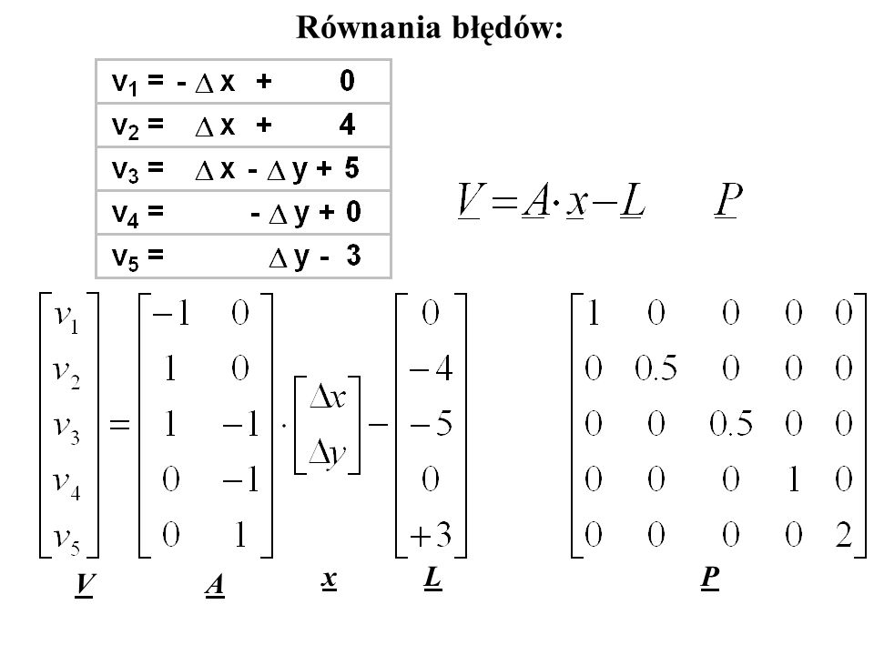 Równania błędów: x L P V A