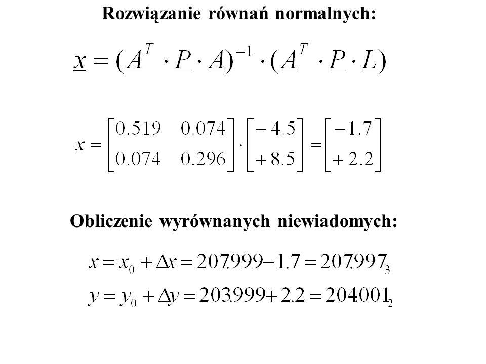 Rozwiązanie równań normalnych: