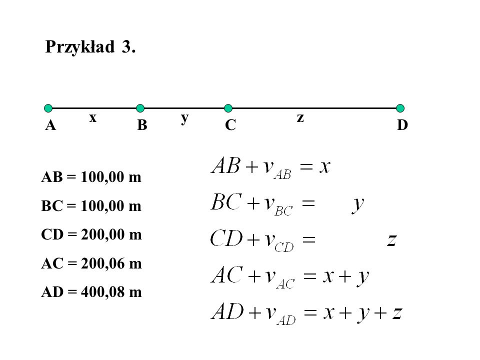Przykład 3. x y z A B C D AB = 100,00 m BC = 100,00 m CD = 200,00 m