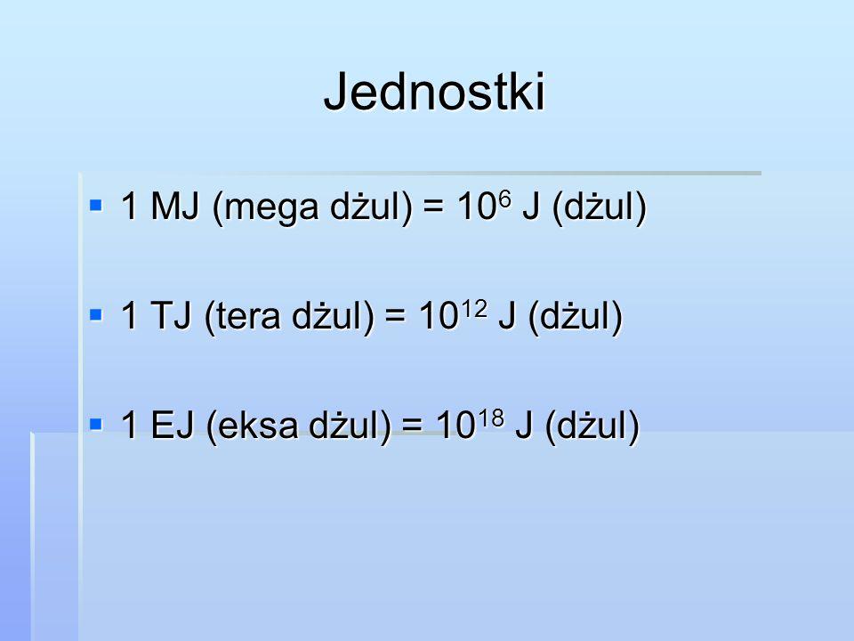 Jednostki 1 MJ (mega dżul) = 106 J (dżul)