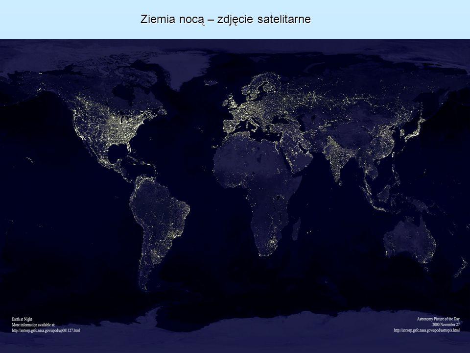 Ziemia nocą – zdjęcie satelitarne