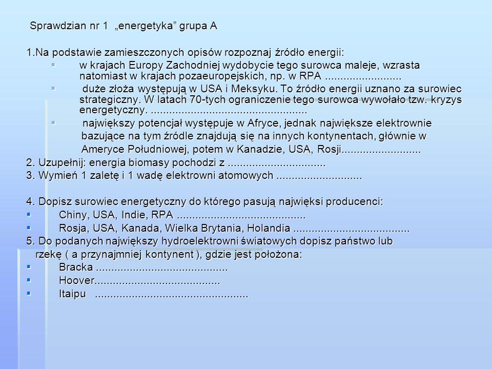 """Sprawdzian nr 1 """"energetyka grupa A"""