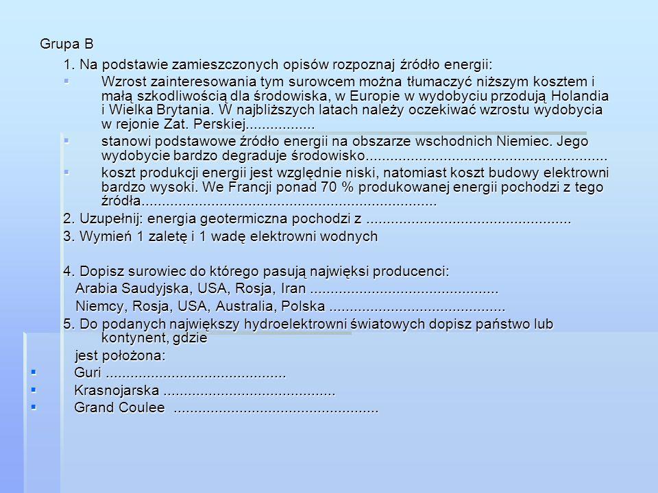 Grupa B 1. Na podstawie zamieszczonych opisów rozpoznaj źródło energii: