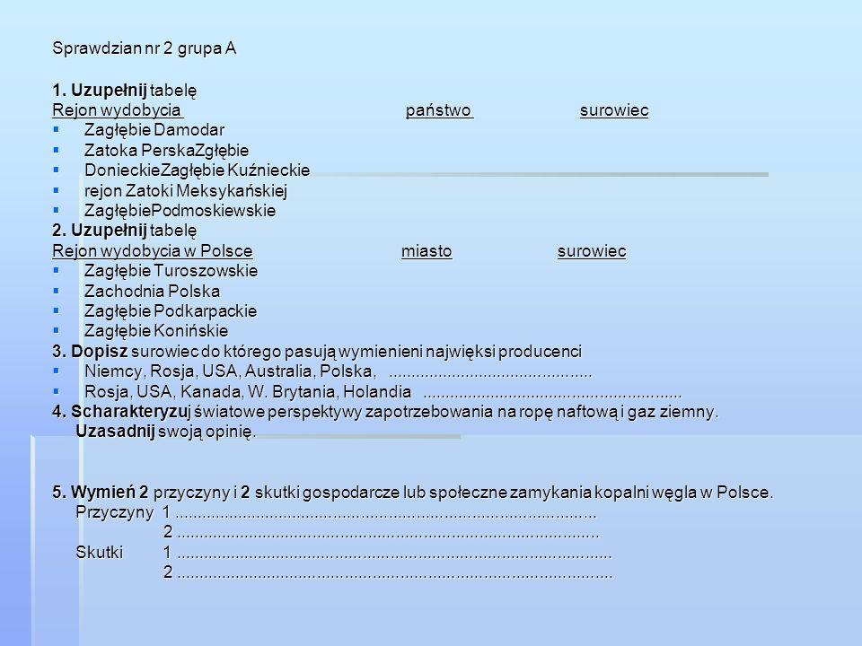 Sprawdzian nr 2 grupa A 1. Uzupełnij tabelę. Rejon wydobycia państwo surowiec.