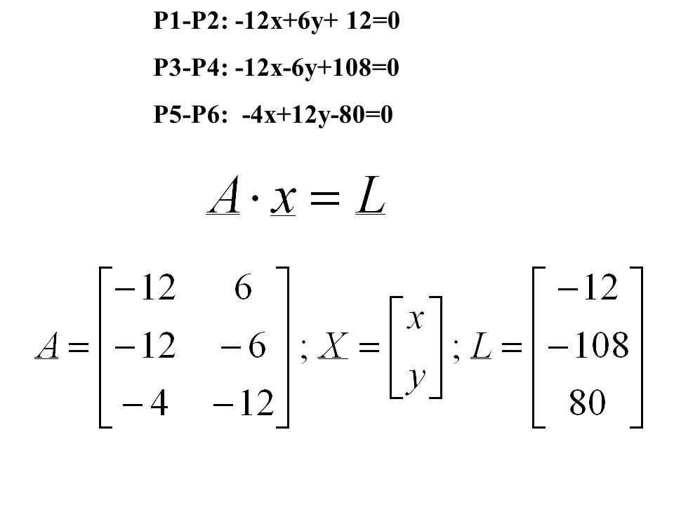 P1-P2: -12x+6y+ 12=0 P3-P4: -12x-6y+108=0 P5-P6: -4x+12y-80=0