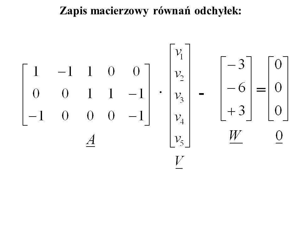 Zapis macierzowy równań odchyłek: