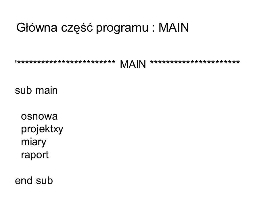 Główna część programu : MAIN
