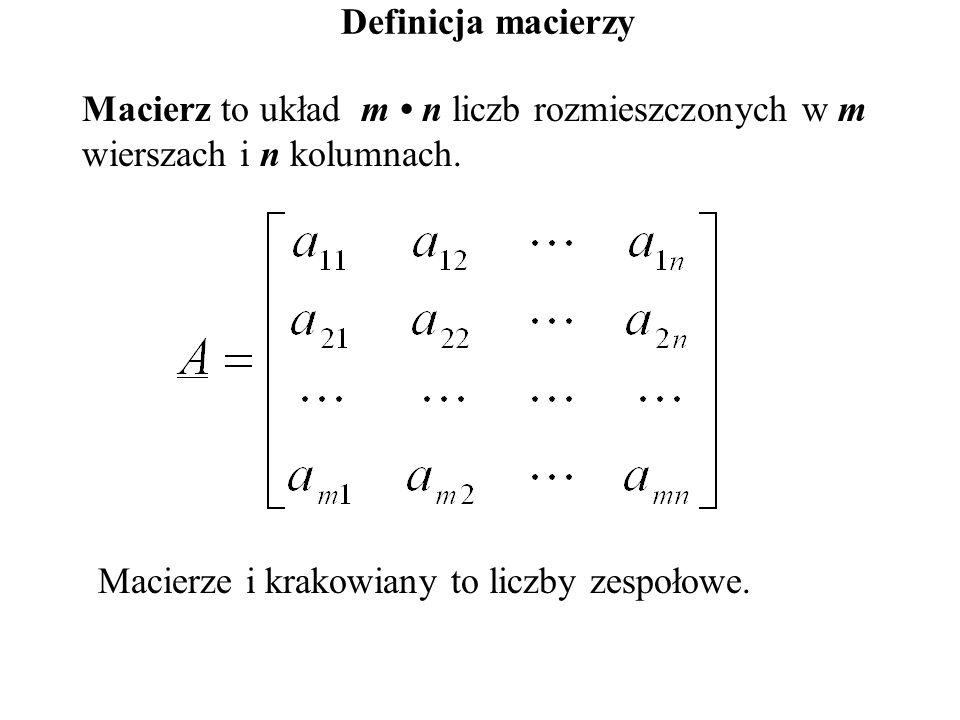 Definicja macierzy Macierz to układ m • n liczb rozmieszczonych w m wierszach i n kolumnach.