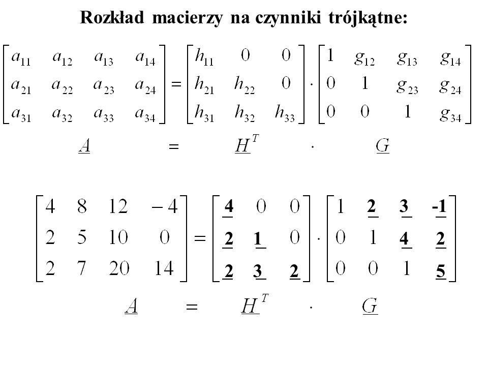 Rozkład macierzy na czynniki trójkątne: