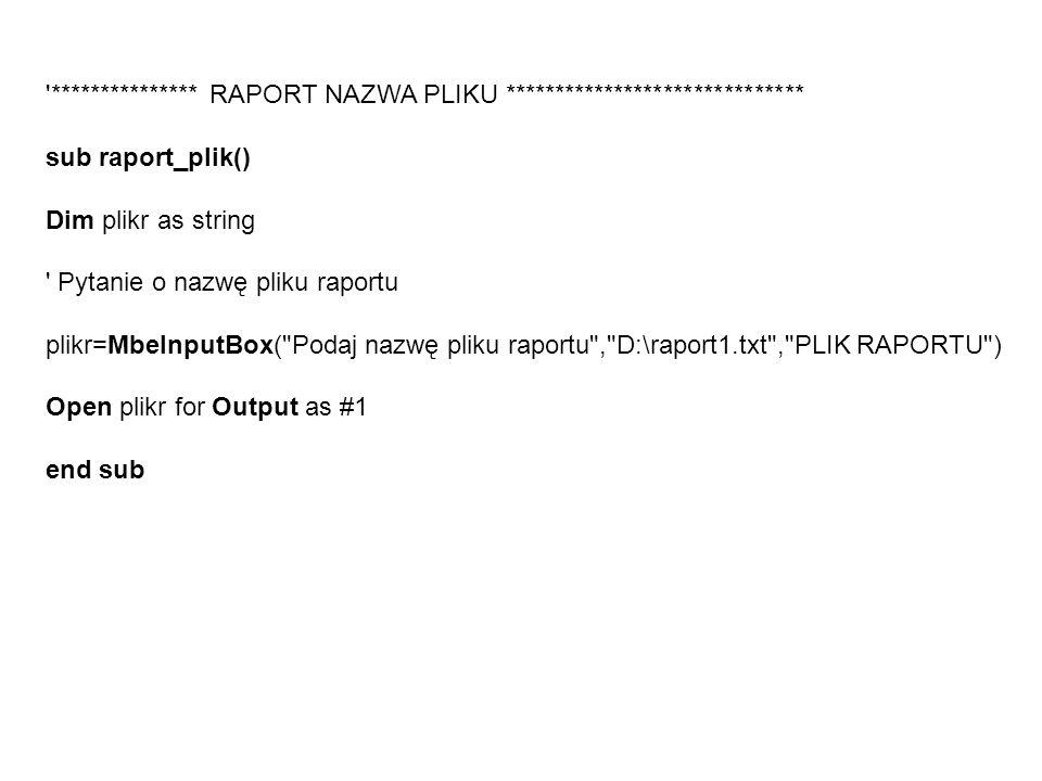 *************** RAPORT NAZWA PLIKU ******************************