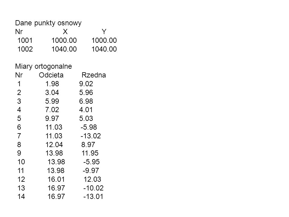 Dane punkty osnowy Nr X Y. 1001 1000.00 1000.00. 1002 1040.00 1040.00.