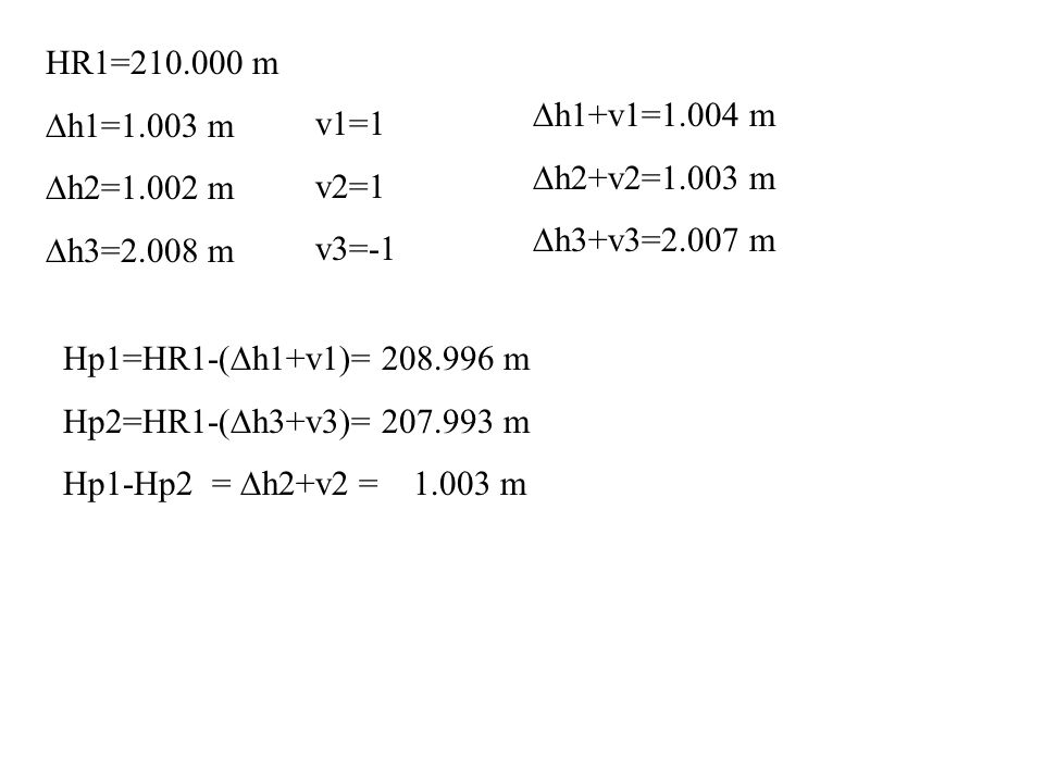 HR1=210.000 m Dh1=1.003 m. Dh2=1.002 m. Dh3=2.008 m. Dh1+v1=1.004 m. Dh2+v2=1.003 m. Dh3+v3=2.007 m.