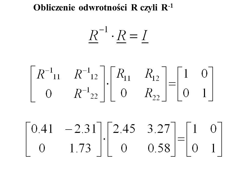 Obliczenie odwrotności R czyli R-1