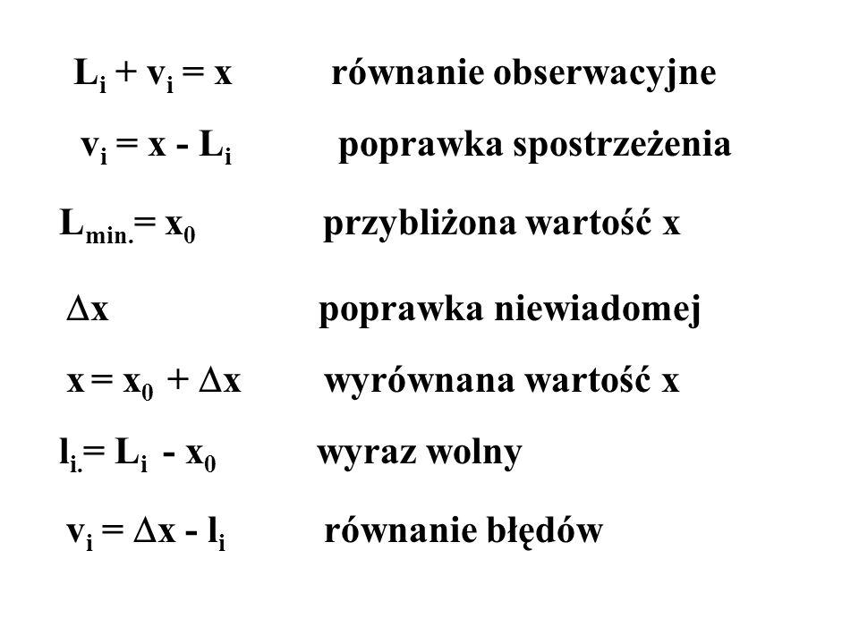 Li + vi = x równanie obserwacyjne